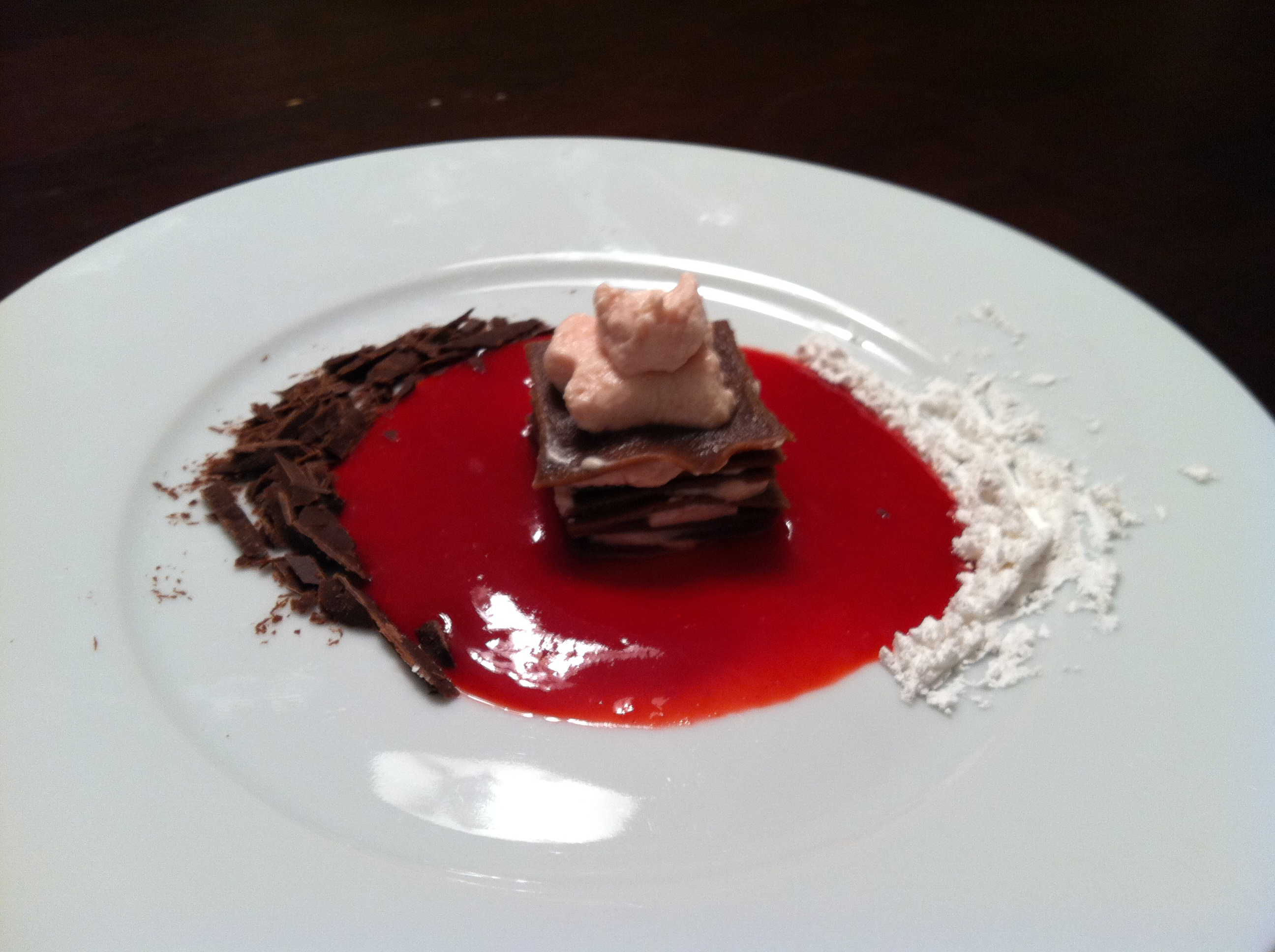 Chocolate Pasta Napolean with Raspberry Coulis and Whipped Cream