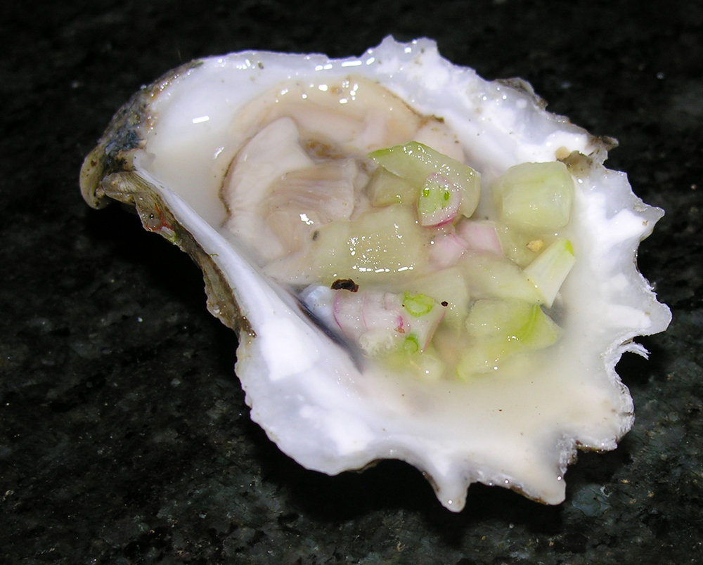 Oysters with a Champagne Cucumber Mignonette