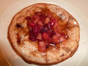 Cranberry Spiced Pancake Souffle with a Cranberry Apple Maple Compote