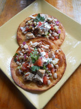 Chicken and Black -Eyed Pea Salad on Crispy Flour Tortillas