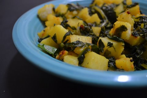 Sauteed potato & radish greens