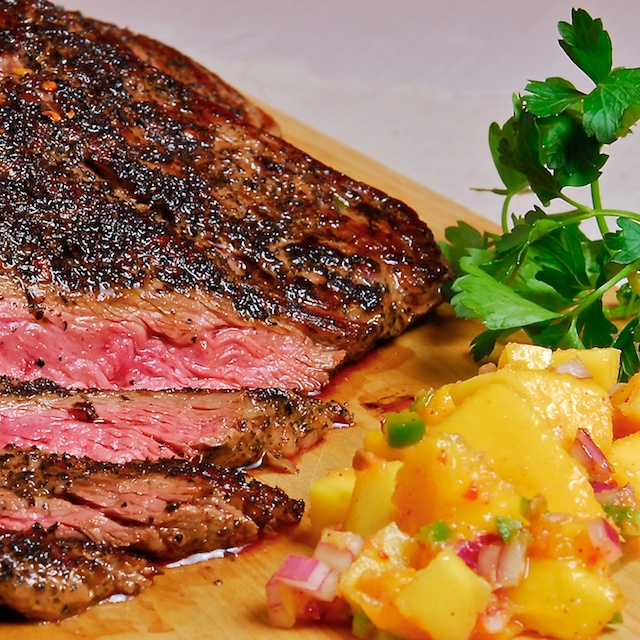 Smoked-Tea Rubbed Steak with Mango-Ginger Salsa