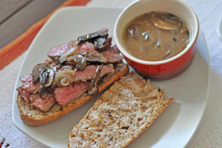 Grilled Flank Steak Sandwiches with Mushroom & Onion dipping sauce