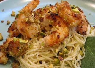 Shrimp with pistachios and sage oil