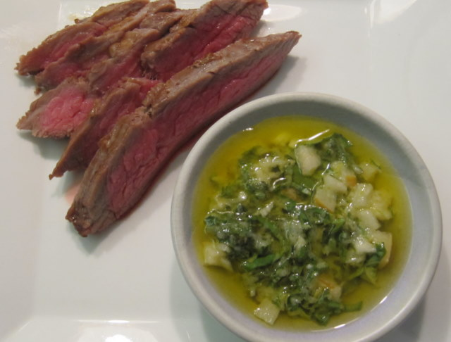 Grilled Flank Steak with Asian Green Sauce (Shiso, Miso, Daikon & Pear)
