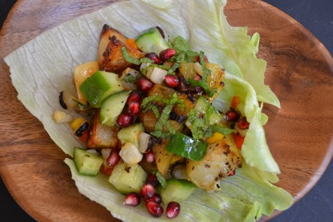 Grilled summer salad with a citrus &amp; pomegranate molasses dressing.