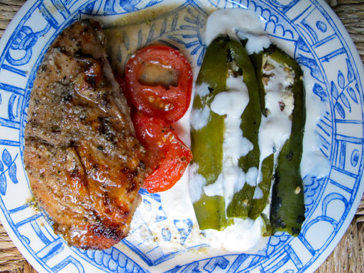 Hatch_chile_rellenos_served_with_yucutan_grilled_chicken