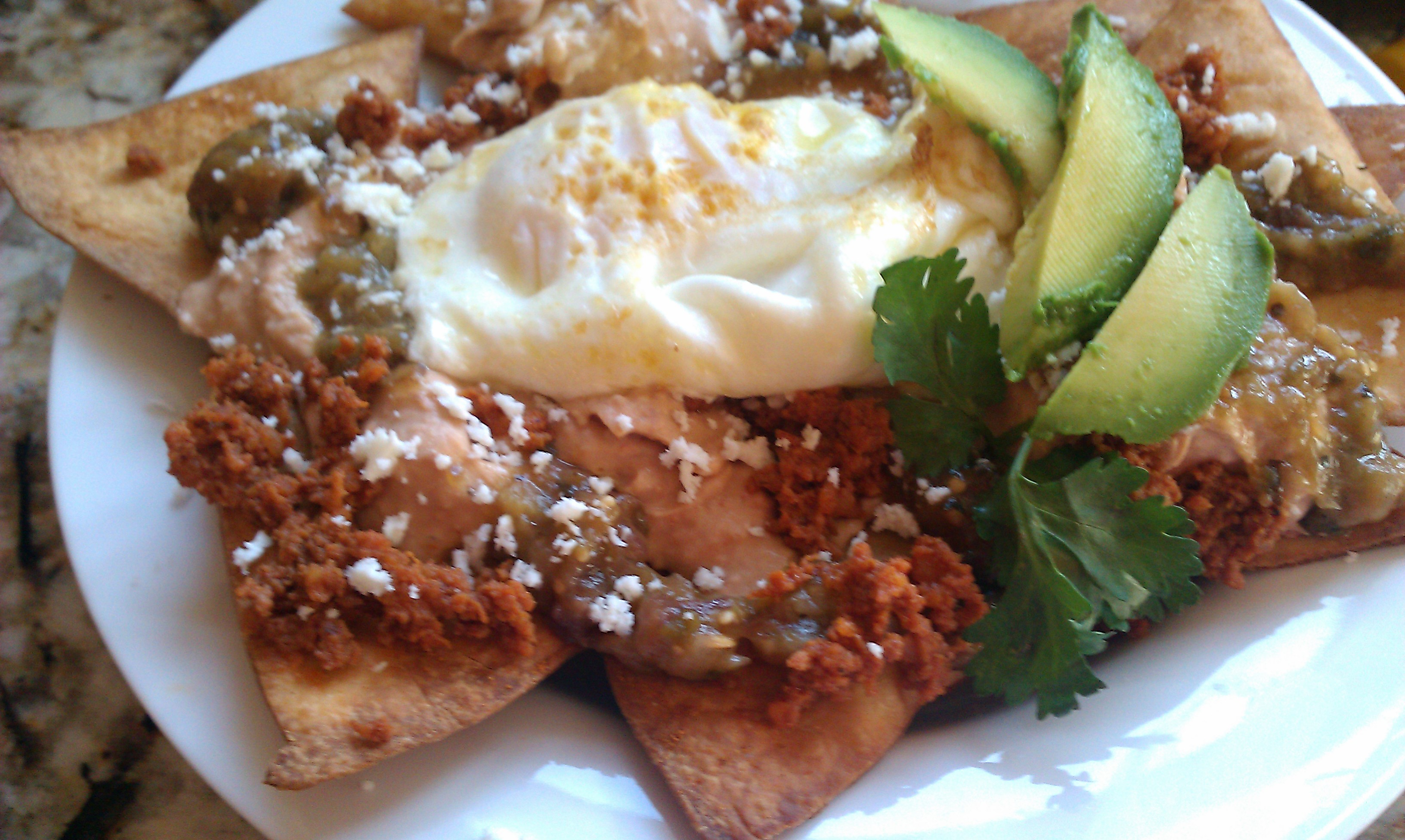 Breakfast Sunshine Platter (Chilaqueles with tomatillo sauce)