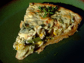 Corn Asparagus Leek Ricotta Tart with Herbed Olive Oil Crust