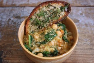 ceci bean stew with cavolo nero & herb dusted crouton