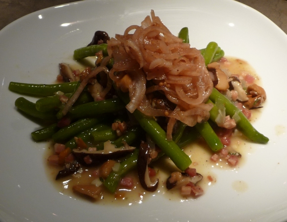 Panctta and Cider Vinegratte Green Beans with Pickled Onions