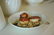 Israeli Couscous with Roasted Lemons &amp; Capers topped with Seared Scallops &amp; a Lemon Creme Fraiche Drizzle