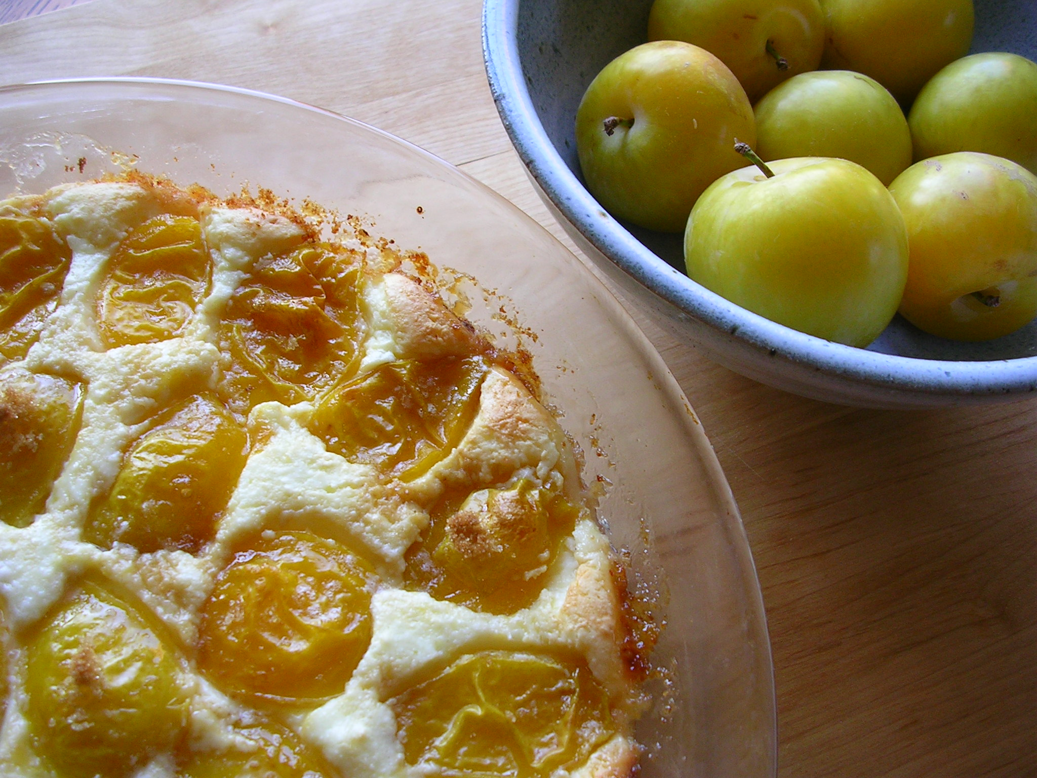 Crustless Ricotta Pie with Yellow Plums