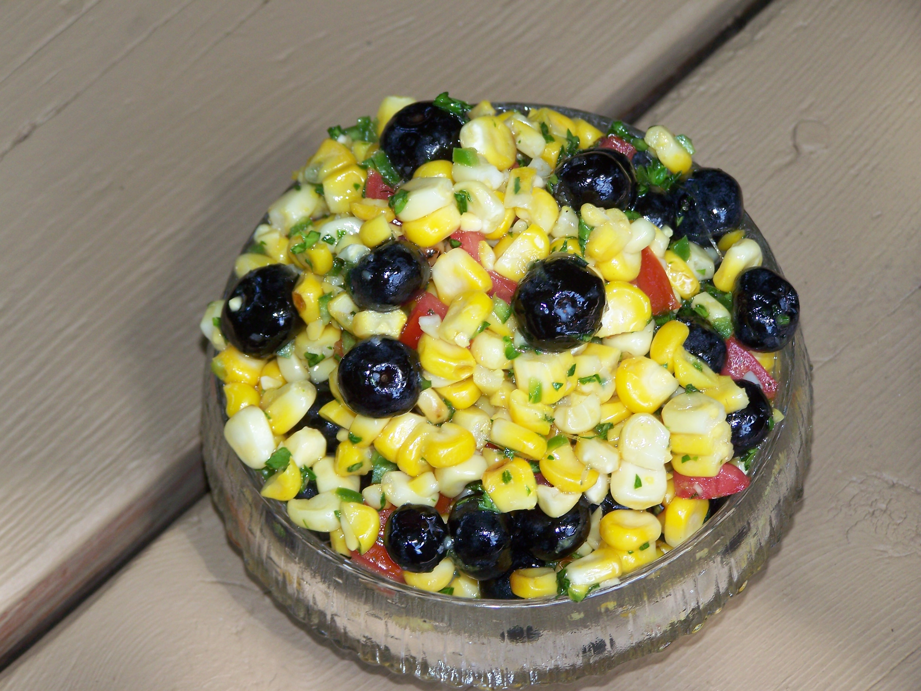 Slightly Charred Spicey Corn with Blueberries Relish