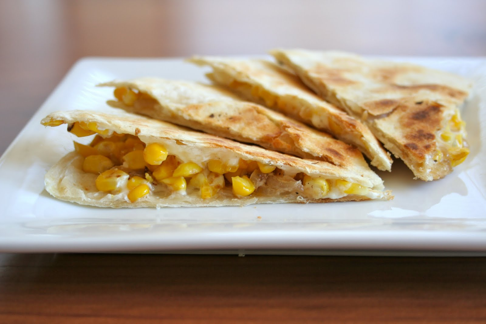 Roast Corn, Goat Cheese, and Caramelized Onion Quesadilla