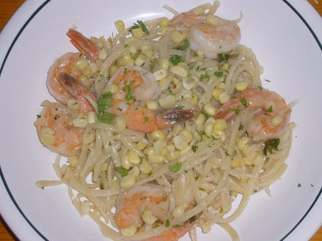 Spaghetti with Corn & Shrimp
