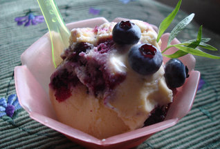 Corn Ice Cream with a Blueberry-Tarragon Jam Swirl