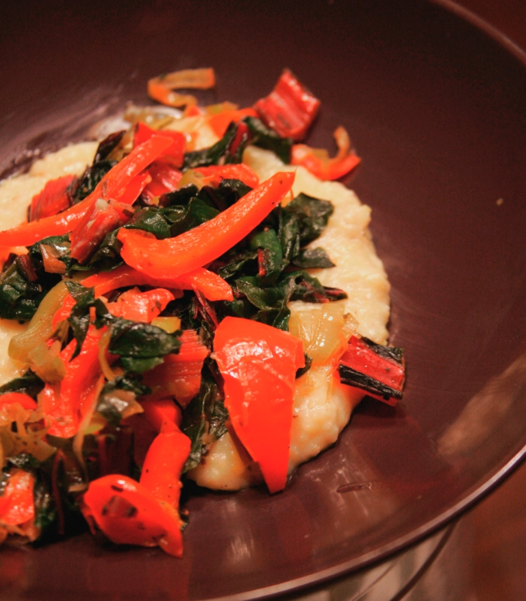 Swiss Chard, Leek and Red Pepper Sautee over Cheesy Polenta