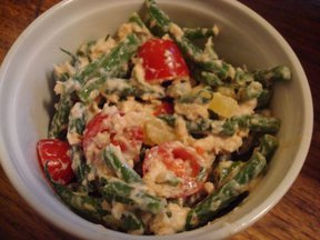 Salmon and haricot vert salad