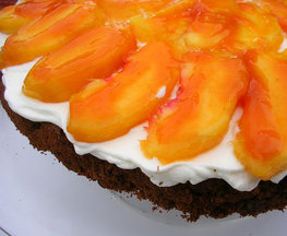 Chocolate Hazelnut Cake with Peaches and Cream