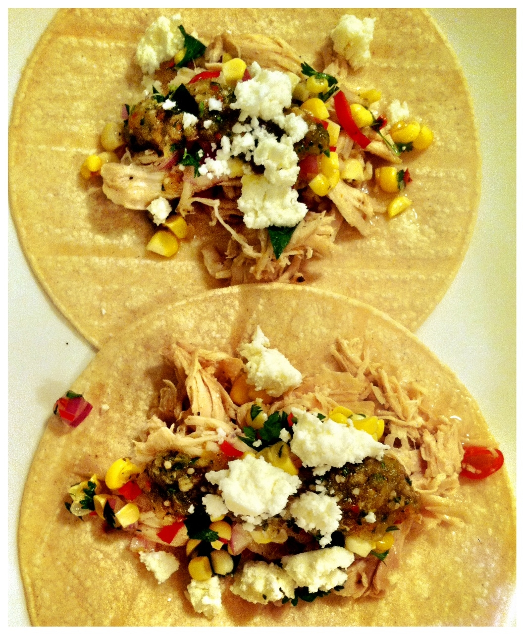 Tequila and Cherry Tomato Shredded Chicken Tacos with Fresh Corn Salsa