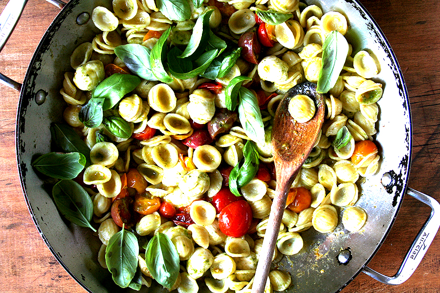 Orecchiette with Sauted Cherry Tomatoes, Mozzarella and Basil Pesto