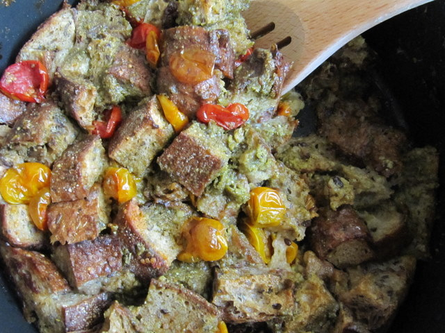 Slow Roasted Cherry Tomato and Garlic Feta Pesto Panade