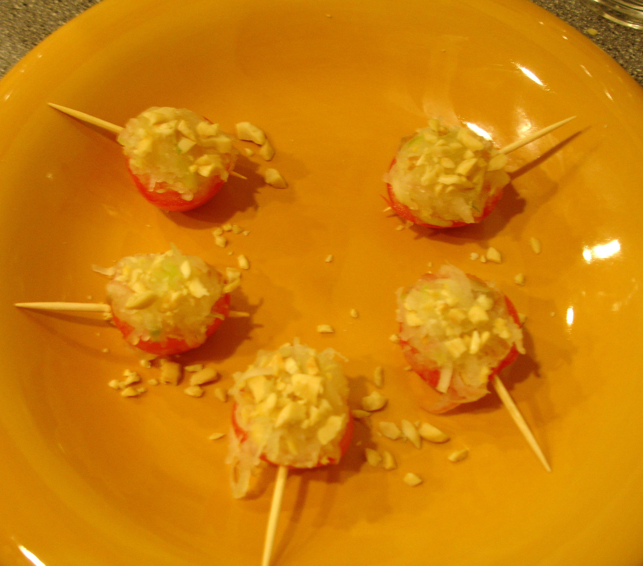 Pickled Papaya Stuffed Cherry Tomatoes