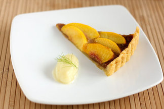 Peach and Almond Toffee Tart with Fennel Sorbet