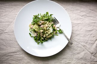 Summer Bean Salad with Fennel, Capers & Lemon Cream