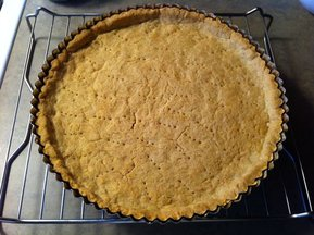 home-made ricotta and peach tart