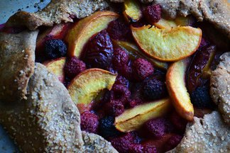 Rustic Whole Wheat Peach, Plum, and Raspberry Crostata