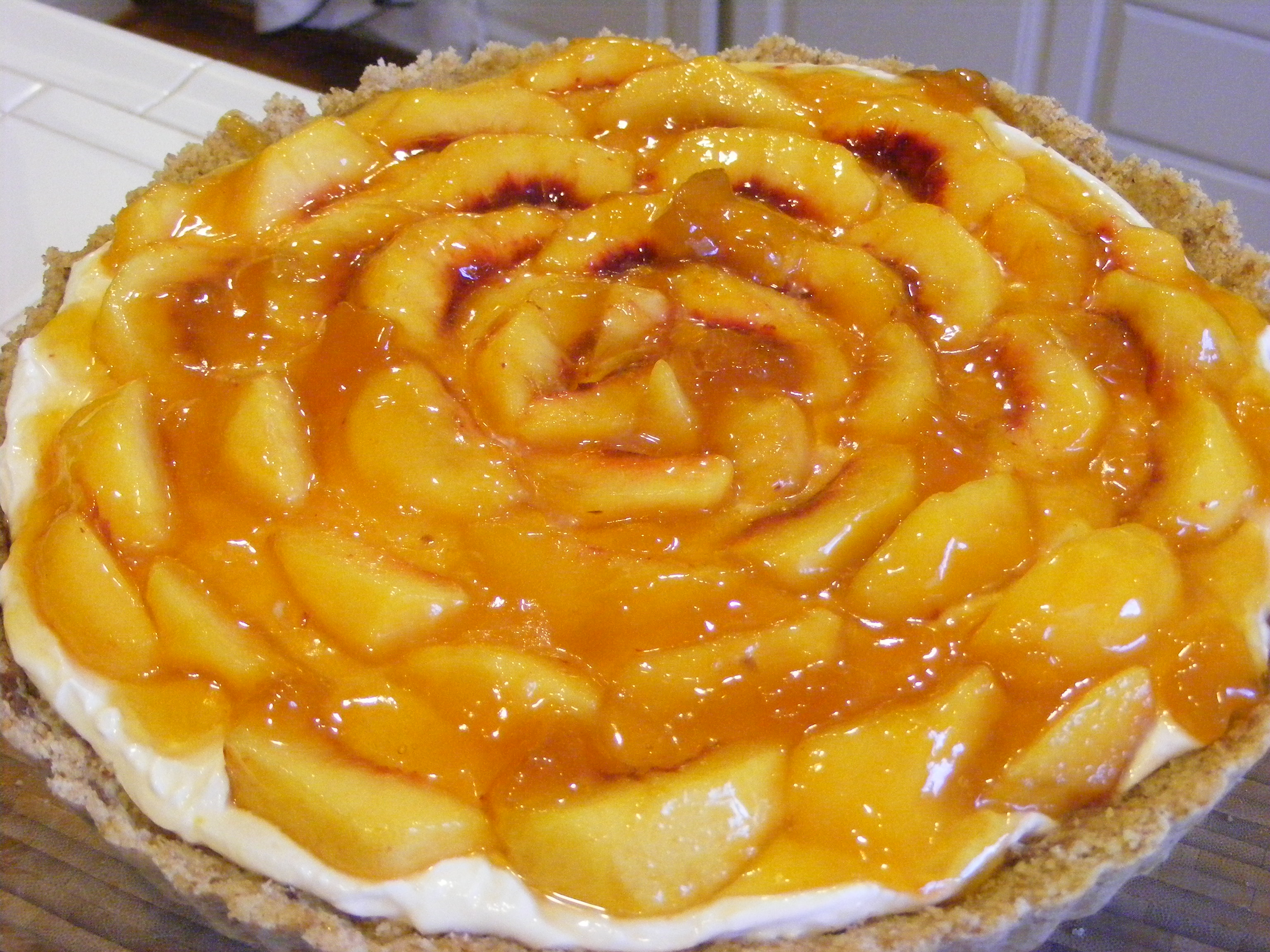 Creamy Fresh Peach Pie (or Tart) in a Nut Crust with Hazelnut Spread