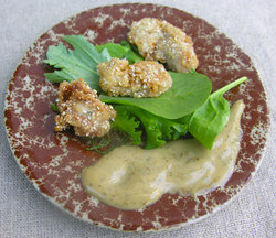 Fried oysters, corn meal style