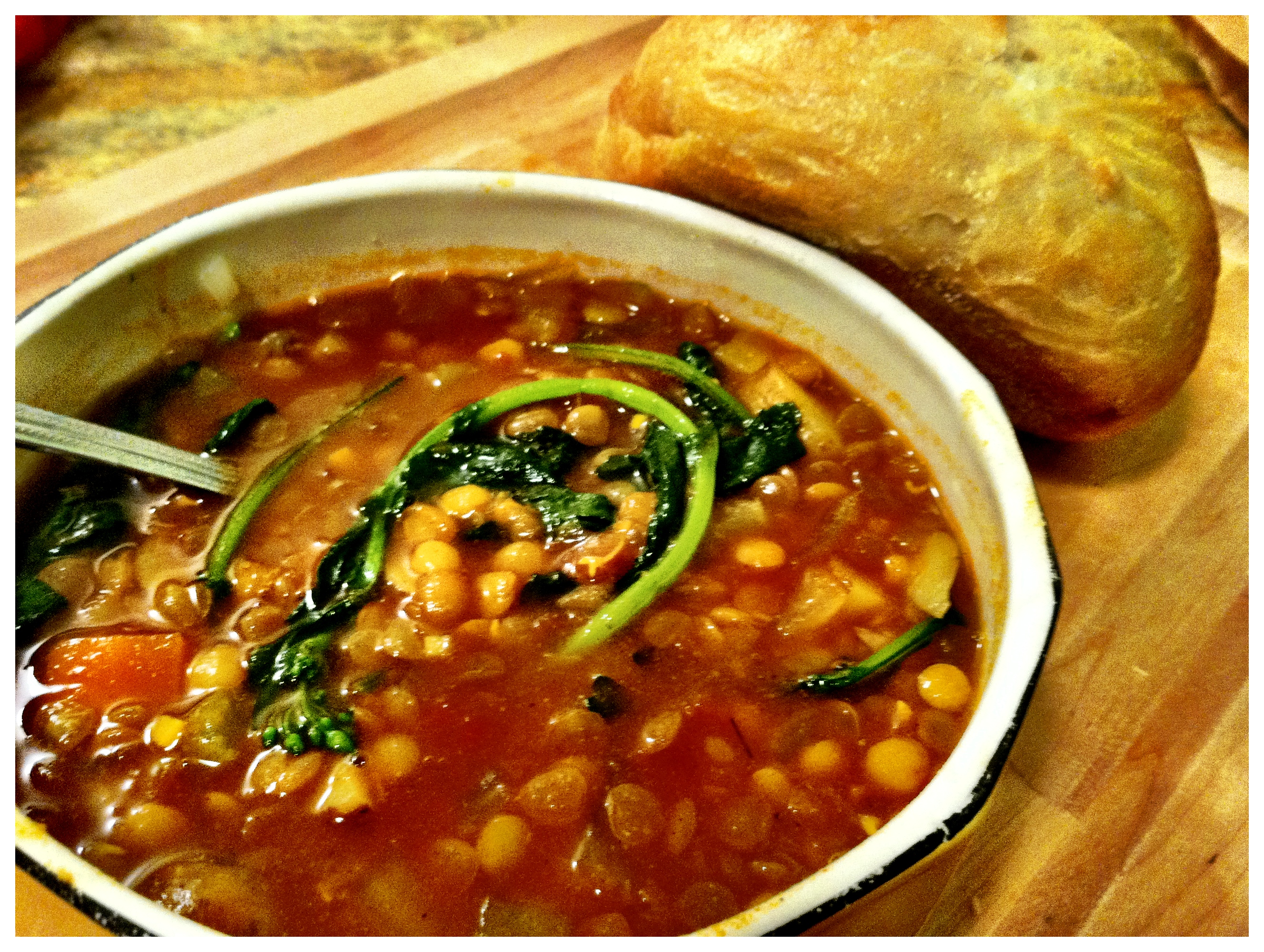 Broccoli Raab Curry Lentil Soup