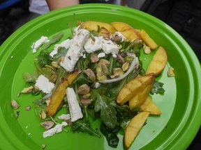 Grilled Peach, Arugula, Pistachio and Feta Salad
