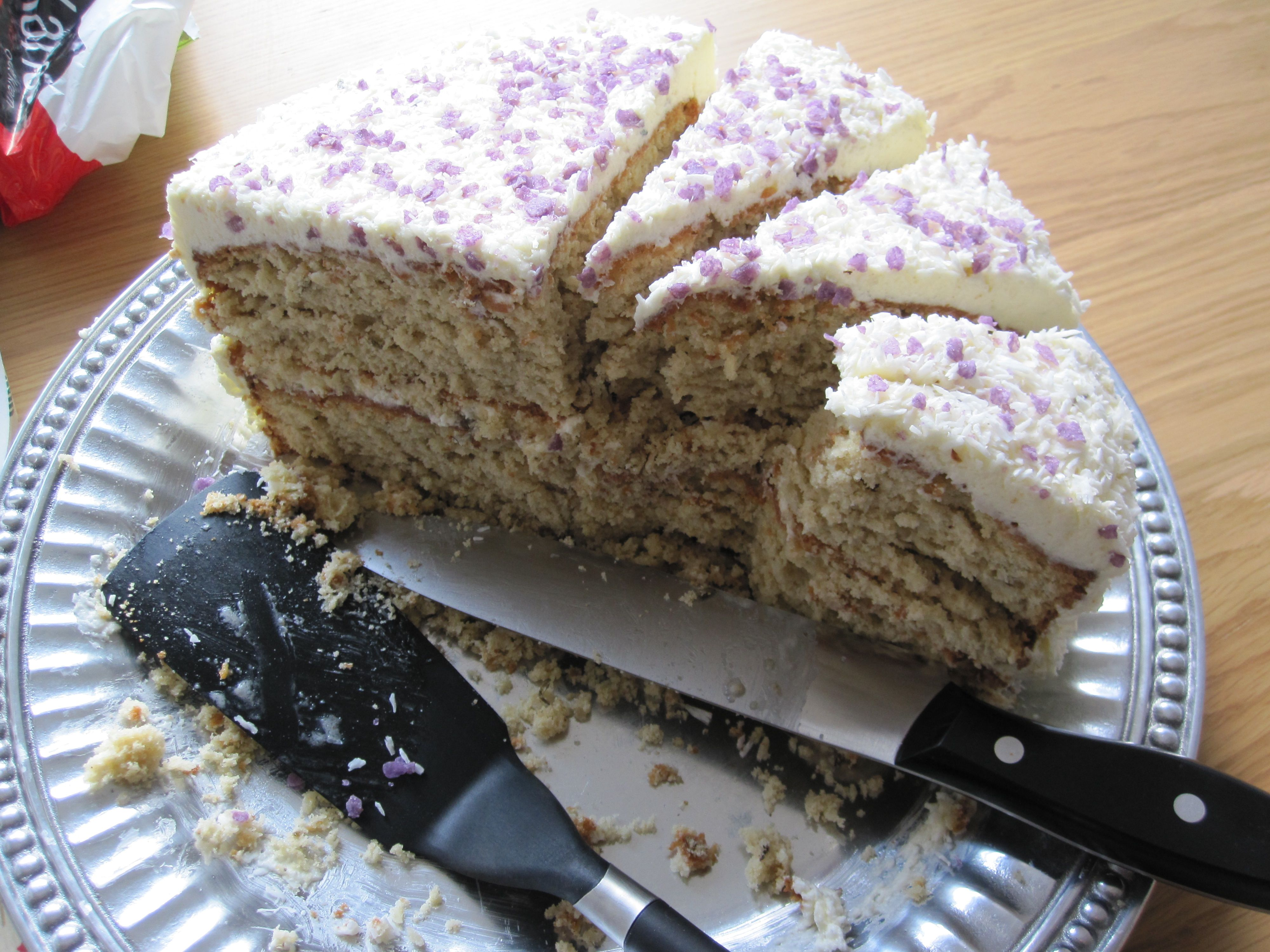 Lavender and Coconut Layer Cake with Lavender Italian Meringue Frosting (aka my favorite birthday cake!)