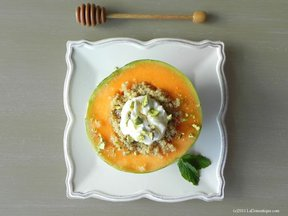 Charentais Melon with Spiced Quinoa, Yogurt, and Pistachio