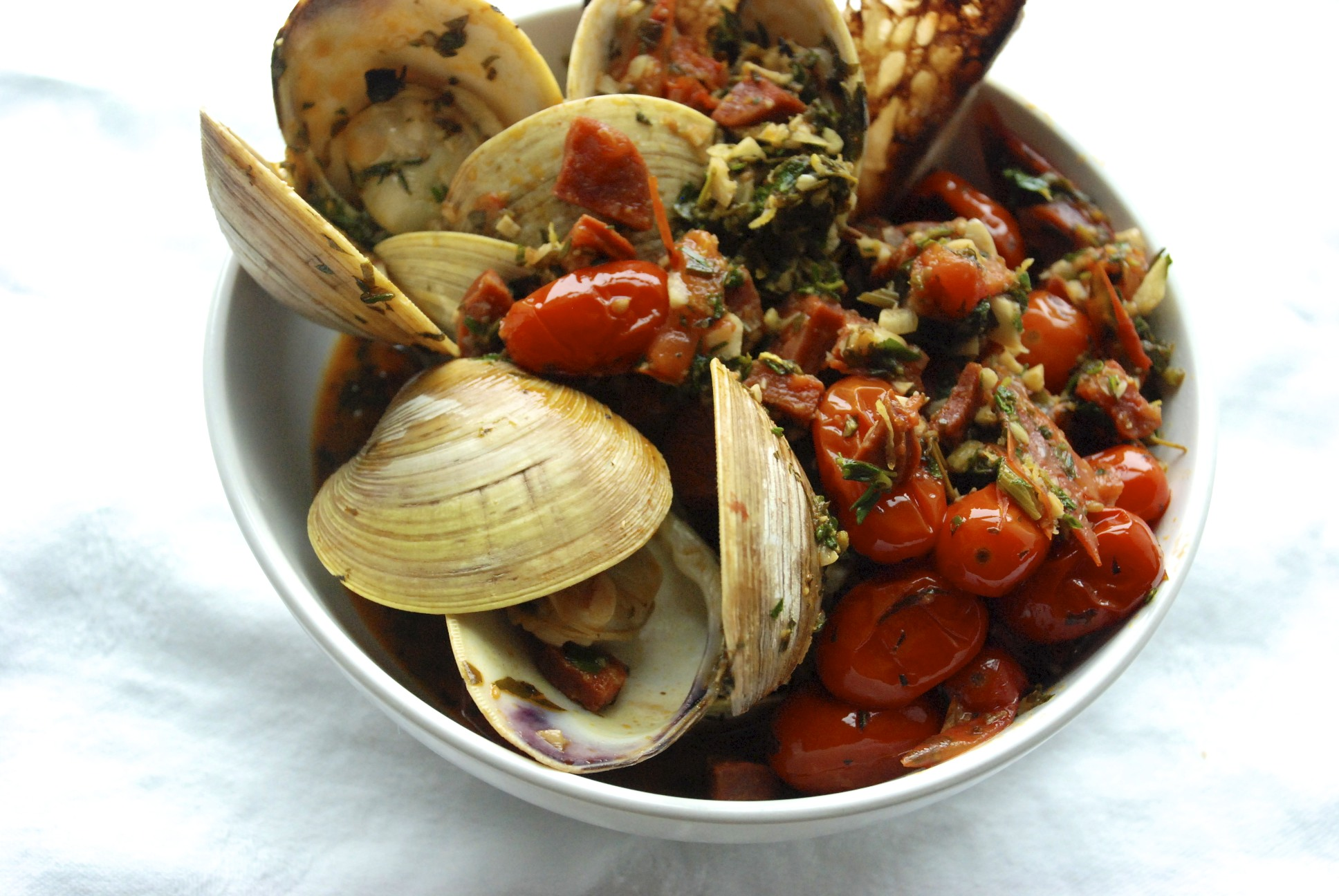Clams with Grilled Chorizo &amp; Charred Tomatoes