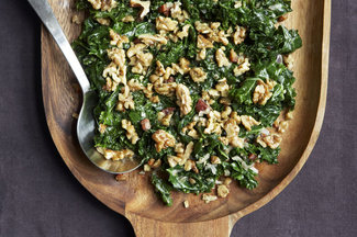 Kale with Pancetta, Cream and Toasted Rosemary Walnuts