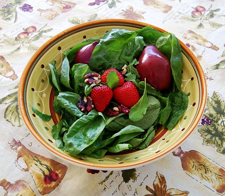 Arugula and Spinach with Pears, Red Walnuts + Pear Dressing