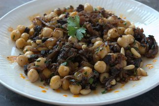 Chickpeas with Blood Sausage, Pine Nuts, & Raisins