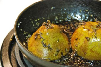 Baked Pear in Lavender Syrup