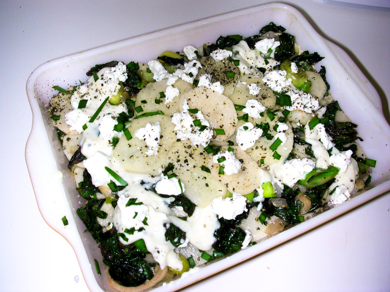 Swiss Chard, Potato and Leek Gratin
