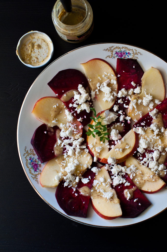 Apple Beetroot Carpaccio Salad with Mustard and Feta