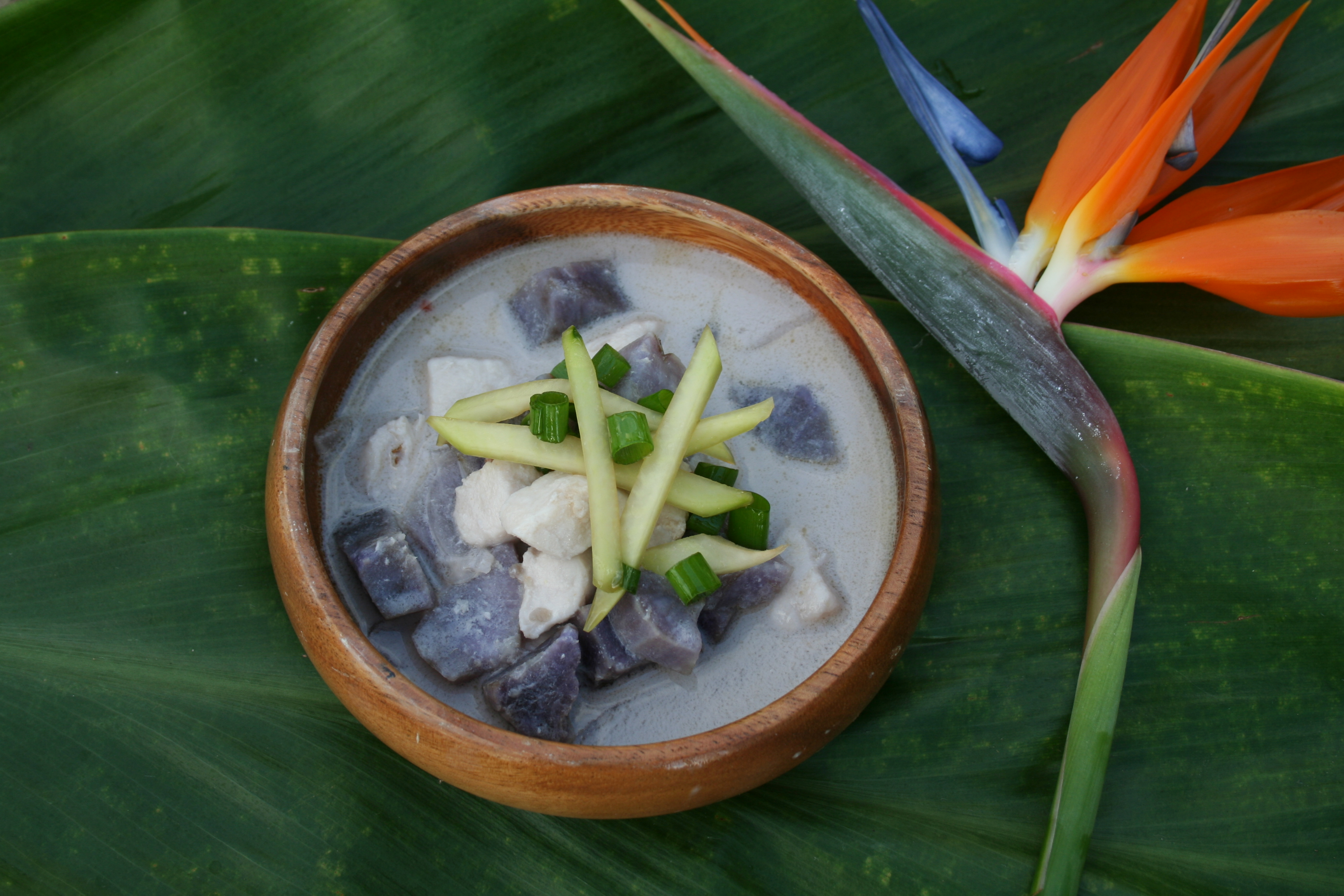 Hawaiian Style Fish Chowder with Okinawan Sweet Potatoes