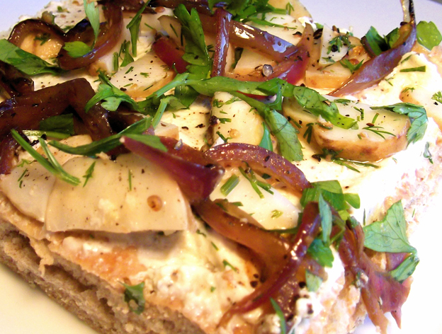 Marinated Sunchoke and Caramelized Onion Focaccia