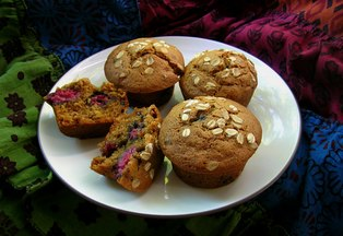 Raspberry Multigrain Muffins
