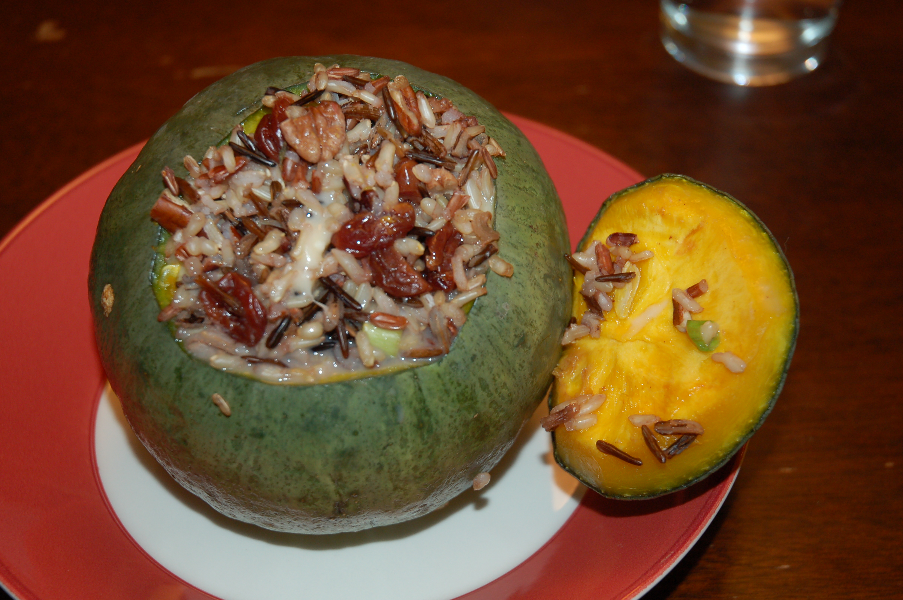 Wild rice-cherry-pecan-stuffed Winter Squash