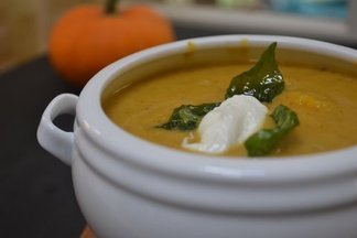 Roasted Pumpkin, Sesame &amp; Coconut bisque